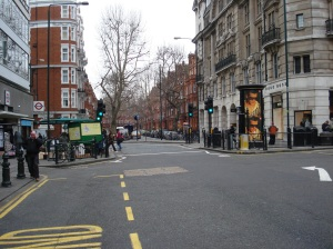 The pelican crossing at Sloane Square station, London before refurbishment