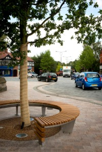 Fountain Place, Poynton, East Cheshire. A complex arrangement of traffic signals has been replaced with a form of double roundabout and courtesy crossings
