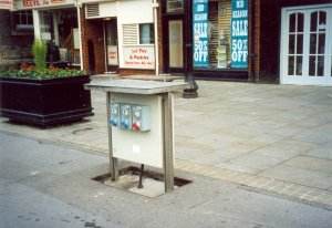 This service electricity box for market stalls can be pushed below ground when it is not needed