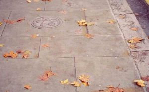 York stone paving in a typical Georgian historic urban square